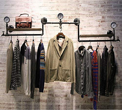 Kaler Industrial Pipe Clothing Rack Wall Hanging Clothes Rack for Clothing Shop Family