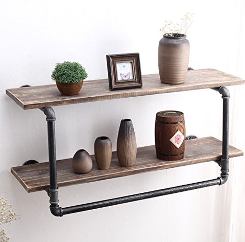 "FURVOKIA Industrial Pipe Rustic Bar Wall Mount Wine Racks with Shelves,Fashion Clothing Display Stand,Bathroom Storage Towel Rack,2 Tier Wood Floating Shelf for Home?24""L x 11"" H x 10""W inch?"