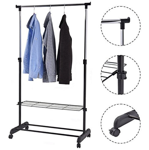 Generic ck She Storage Adjustable Rack Sh Organizer Shoe Garment Rack Garment Rack Shelf anizer Shoe Hanger New nger New Portable Rolling ing Hanger New