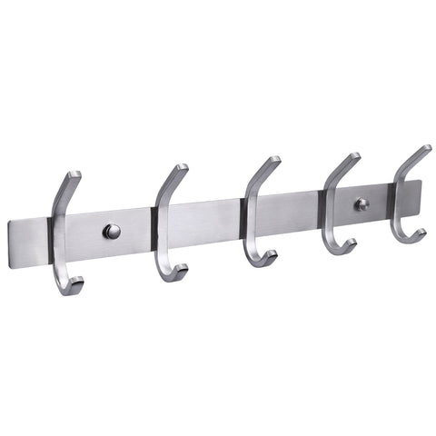 HOMEIDEAS 13-Inch Coat Hook Rail SUS304 Stainless Steel Coat Bath Towel Hook Hanger with Heavy Duty Double 5 Hooks,Brushed Finish