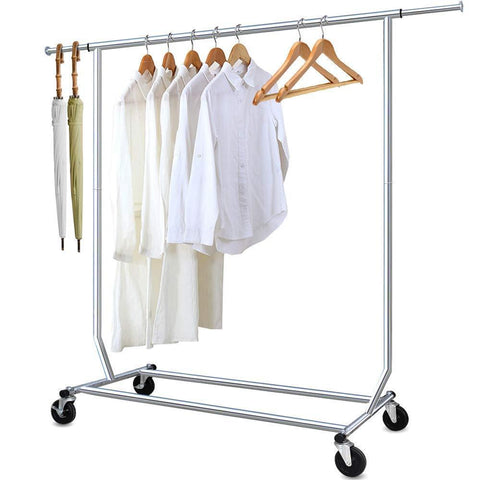 Camabel Clothing Garment Rack Heavy Duty Capacity 300 lbs Adjustable Rolling Commercial Grade Steel Extendable Hanger Drying Organizer Chrome Finish Storage Shelf With Wheels, load up to 300lbs
