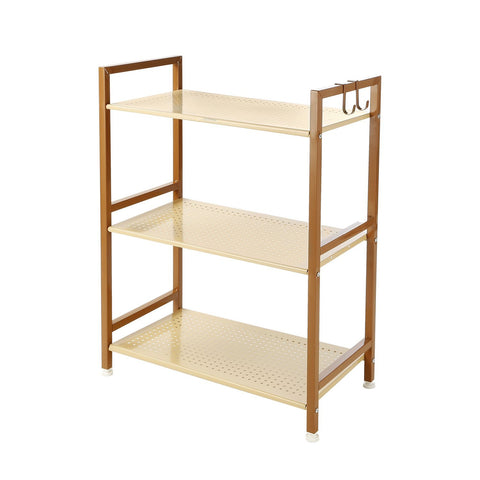 3 Tier Shelving Unit Heavy Duty Kitchen Home Storage Rack With Hook, Metal, GEYUEYA Home