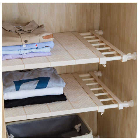 APSOONSELL Ajustable Shelf Closet Storage Rack Organizer, Expandable Closet Shelf Space Saver Racks for Kithchen Cupboard Wardrobe Bookcase