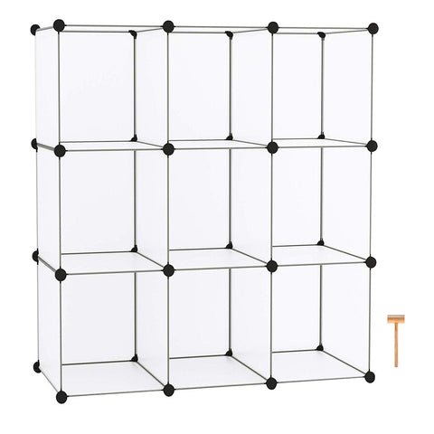 C&AHOME - 9 Cube Storage Organizer Closet Shelf DIY Bookcase Toy Rack, Translucent