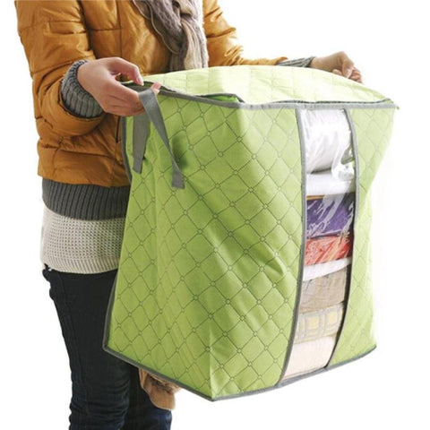 Huphoon Storage Bag- Clothes, Blanket Storage, Anti-mold, Breathable Material, Household Home Organizers,Non Woven, Transparent Window (1PC) (Green)