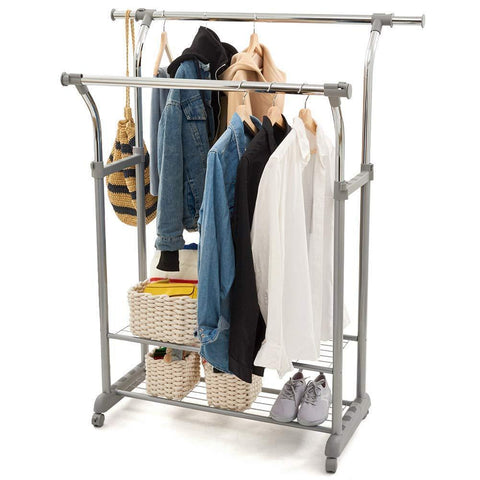 EZOWare Heavy Duty Clothes Rack, Dual Bar Commercial Grade Garment Coat Clothes Closet Organizer Hanging Rack with 2-Tier Bottom Shelves for Balcony, Boutiques Bedroom - Chrome Finish