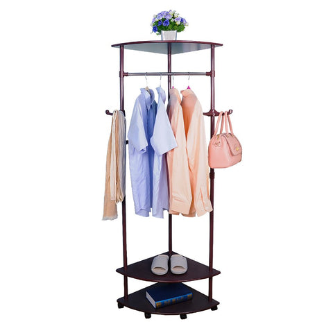 BAOYOUNI Vintage Corner Coat Rack Stand Clothes Garment Hanger Bar Holder Entryway Hall Tree on Wheels with 2-Tier Shoes Storage Shelf and Bag Hooks
