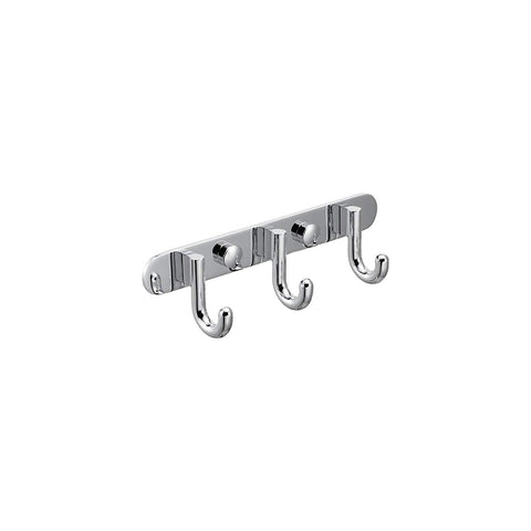 MAYKKE Gilbert Brass 3 Hook Coat Rack Wall Mount Bathroom, Entryway, Hallway, Mudroom Clothes Hat and Key Hanger Polished Chrome, OYA1060101