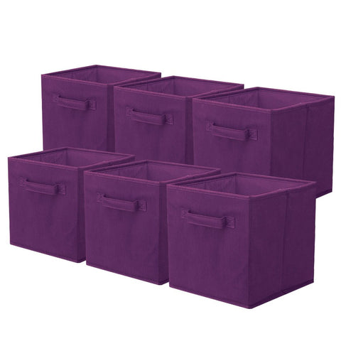 ShellKingdom Storage Bins, Foldable Fabric Storage Cubes and Cloth Storage Organizer Drawer for Closet and Toys Storage,6 Pack(Purple)
