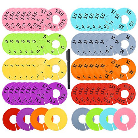 Caydo 64 Pieces 8 Colors Clothing Size Dividers Round Hangers Closet Dividers, Size Series XXS to XXXL and Blank with Marker Pen
