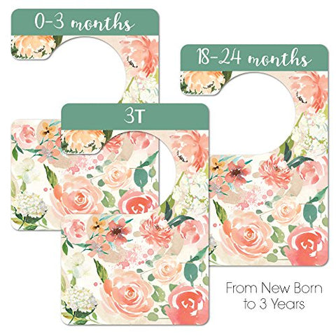 8 Double Sided Floral Baby Closet Organizer for Girl, Newborn Nursery Wardrobe Divider Hangers to Arrange Clothes with Separator by Size or Age, Baby Shower & Registry Gifts