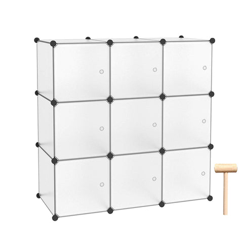 C&AHOME - 9 Cube DIY Bookcase Storage Organizer Portable Closet Toy Rack with Doors, Translucent