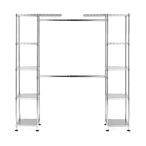 "Seville Classics Double-Rod Expandable Clothes Rack Closet Organizer System, 58"" to 83"" W x 14"" D x 72"", UltraZinc"