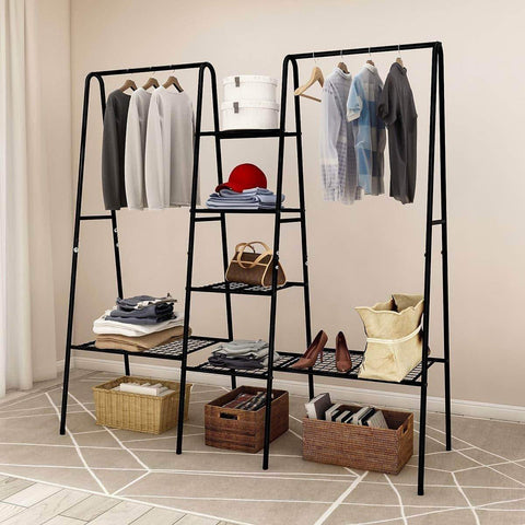 Metal Garment Rack Heavy Duty Indoor Bedroom Clothing Hanger with Top Rod and Lower Storage Shelf Clothes Rack with 1-Tier Shelves Black