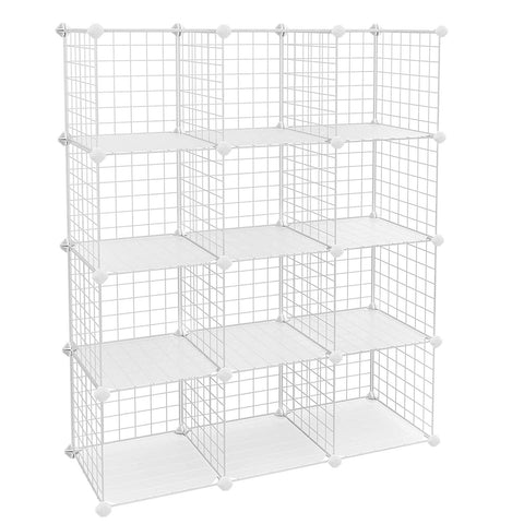 "SONGMICS Metal Wire Cube Storage,12-Cube Shelves Organizer,Stackable Storage Bins, Modular Bookcase, DIY Closet Cabinet Shelf, 36.6""L x 12.2""W x 48.4""H, White ULPI34W"