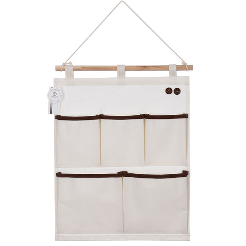 Sea Team New 100% Natural Linen & Cotton Fabric Wall Door Closet Hanging Storage Bag, 5-Pocket Hanging Storage Organizer