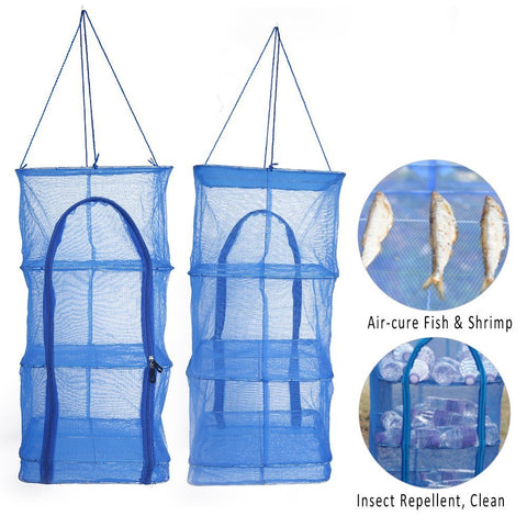 Fish Mesh Hanging Drying Net Food Dehydrator- Foldable 4 Layers Drying Dryer Net Drying Rack - 1pcs Vegetable Fish Dishes Mesh Hanging Drying Net Natural Way to Dry Food