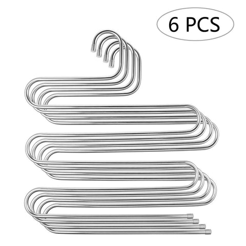 6 Pack Pants Hangers, S-Type Closet Organizer & Stainless Steel Multi Layers Magic Hanger, Space Saver Clothes Rack, Tiered Hanging Storage for Jeans, Scarf, Skirt - (14.17 x 14.96 Inch)