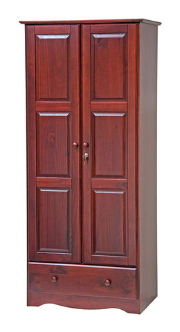 "100% Solid Wood Flexible Wardrobe/Armoire/Closet by Palace Imports, Mahogany Color, 32"" W x 72"" H x 21"" D. 1 Shelf, 1 Clothing Rod, 1 Drawer, 1 Lock Included. Additional Shelves Sold Separately."