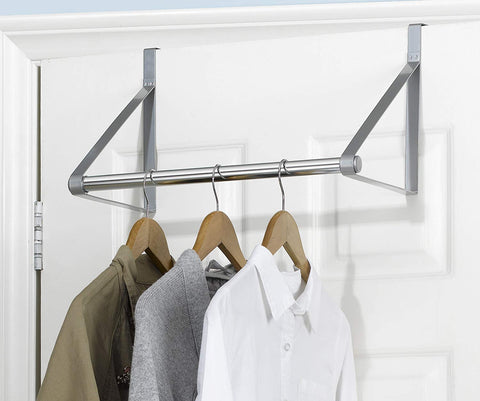 Finnhomy Heavy-Duty Over The Door Hanger Rod Organizer for Coat, Closet Rod with Hanging Bar, Towels Holder Brush Finish (Silver)