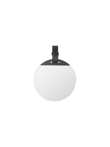 Round Enter Mirror in Small Black with strap by ferm Living