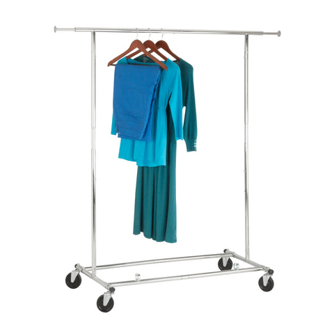 Collapsible Expandable Rolling Garment Rack, Chrome