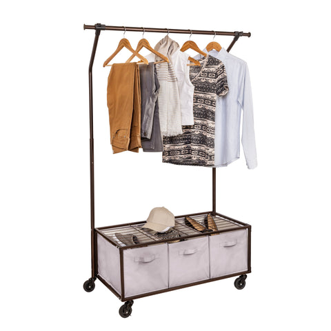 Rolling Garment Rack With Storage Bins, Bronze