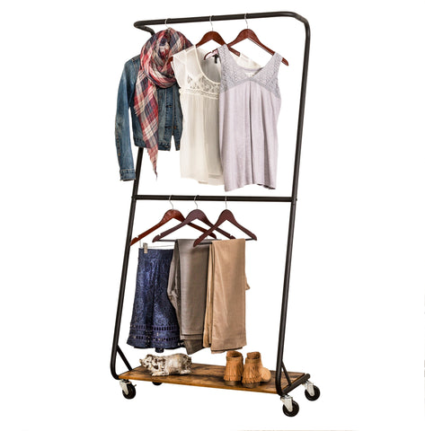 Z-Frame Double Bar Rolling Garment Rack