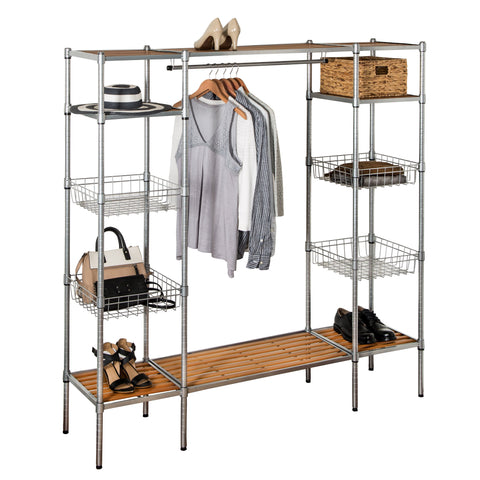 Freestanding Closet with Clothes Rack and Shelves