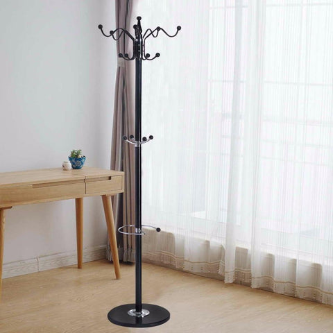 "15 Hooks Coat Rack 70"" Metal Coat Hat Jacket Stand Tree Holder Bags Hanger Rack With Marble Base"