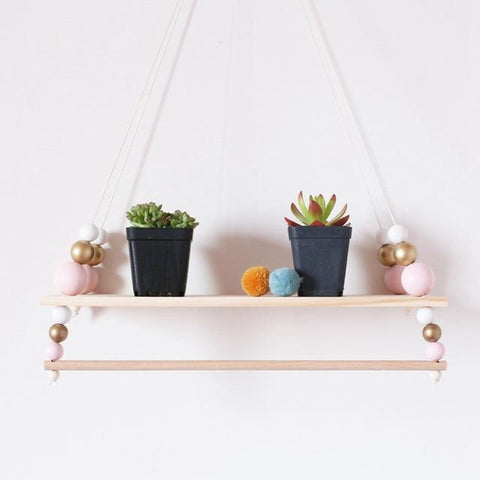 Suspended Shelf Storage Holders BABY Room Children Chamber Shelf Swing Wooden Pearls Kids Hanging Clothes Rack Bookshelf Design
