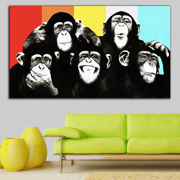 Toile Chimpanzés Rigolos - Pop Art