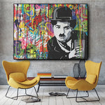 Toile Charlie Chaplin Graffiti Pop Art