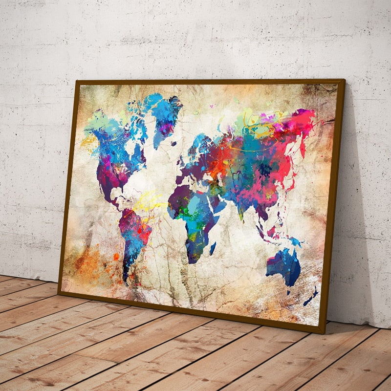 Toile Art Carte du Monde