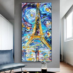Toile Art Abstrait Tour Eiffel Paris