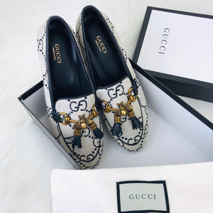 Gucci Jordaan Bee Tweed Loafer