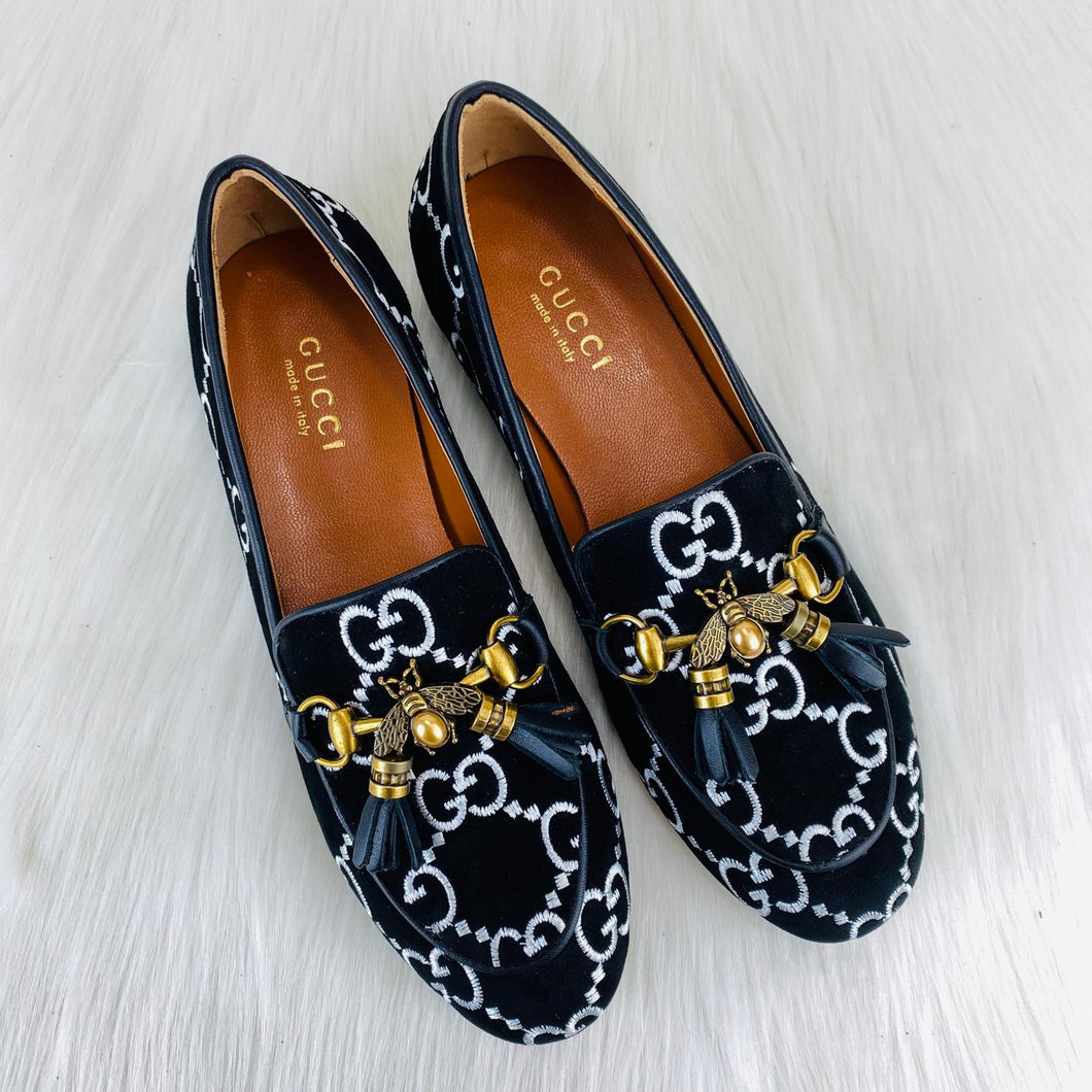 Gucci Jordaan Suede Bee İnterlocking Loafer