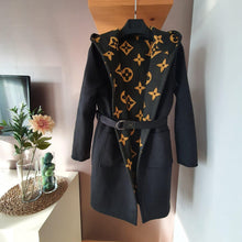 Load image into Gallery viewer, Louis Vuitton Oversized Logo Hooded Wrap Coat