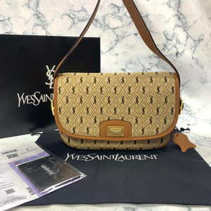 Yves Saint Laurent YSL Monogram All Over Medium Satchel Bag