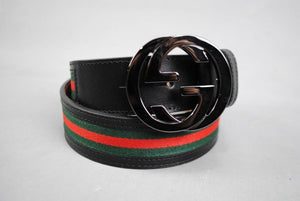 Gucci GG Interlocking Buckle Handmade Leather Belt