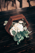 Load image into Gallery viewer, Geometric Wooden Centerpiece w/ White Floral