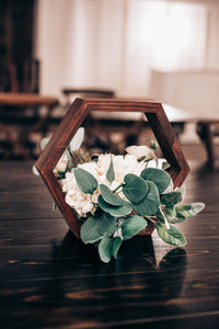 Geometric Wooden Centerpiece w/ White Floral
