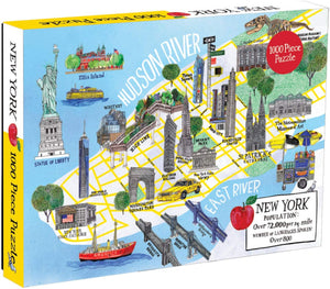 New York City Map (1000 Piece Jigsaw Puzzle for Adults and Families)