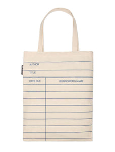 "Library Card Tote Bag (14"") Natural"