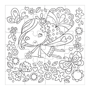 Flower Fairy Color-in Puzzle