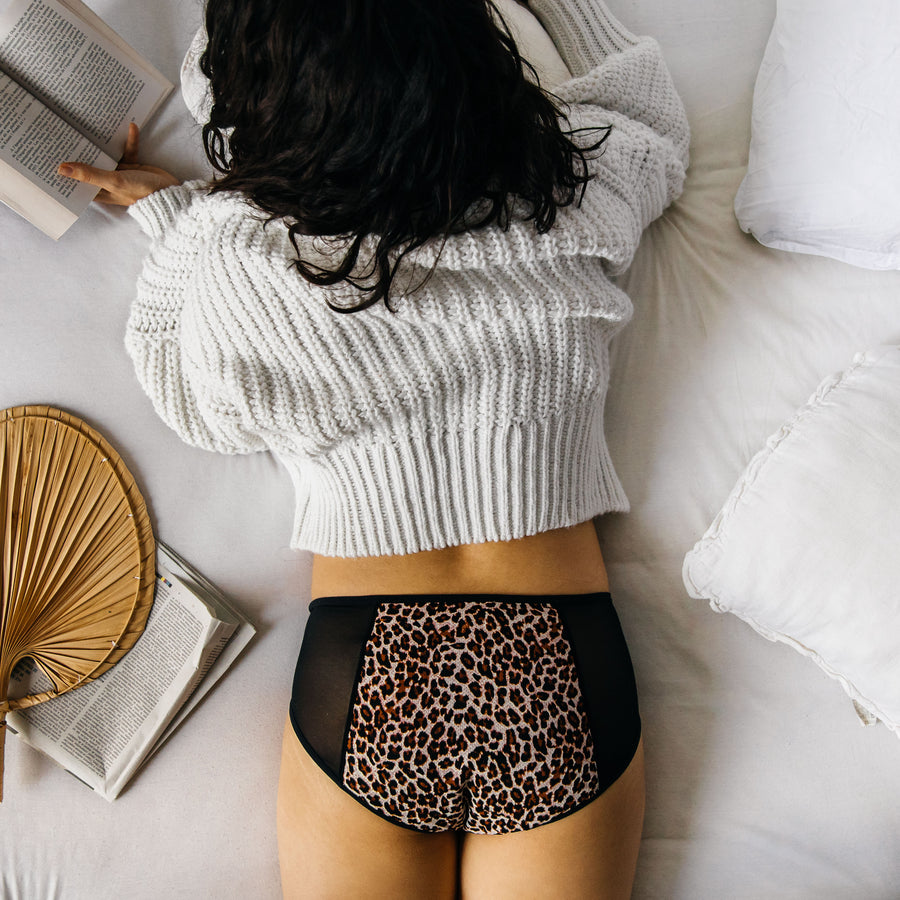 1 to 10 leopard period underwear with transparent sides