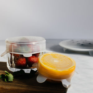 Set of 6 reusable silicone lids