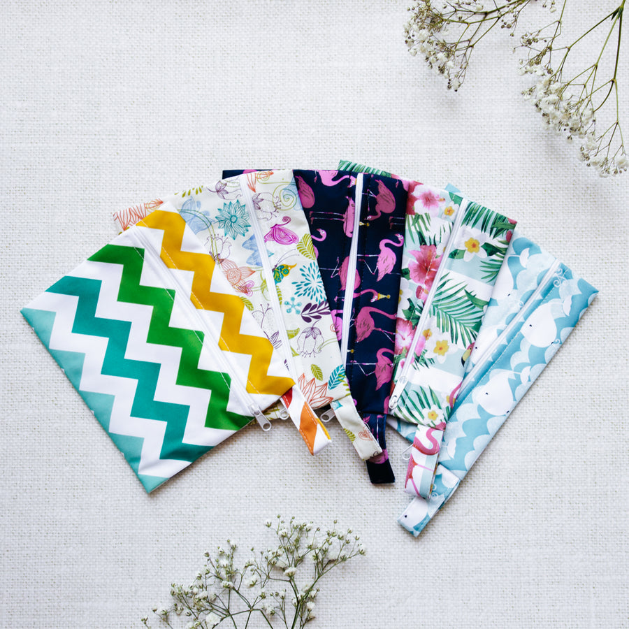 Waterproof storage pockets for sanitary napkins and period underwear