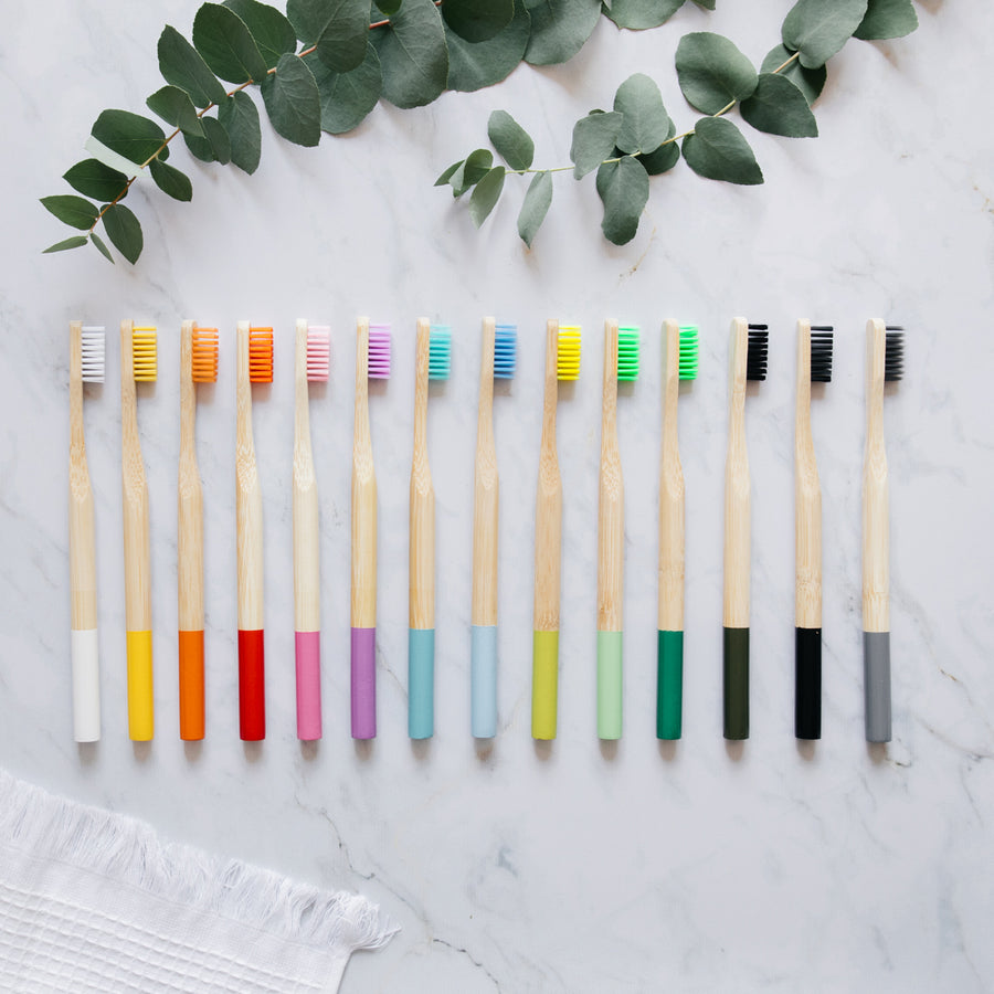 Set of 10 bamboo toothbrushes high quality - mix color