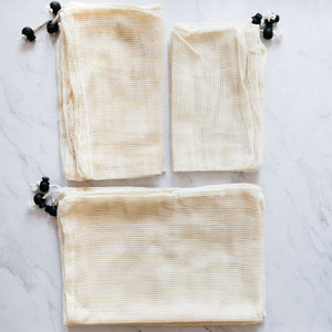 Pack of 9 reusable cotton mesh bag
